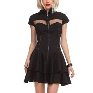 Hell Bunny Odette Goth Mini Dress Zip Front Mesh